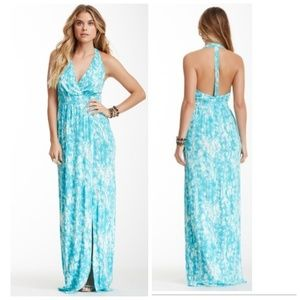 Tart Blue Snake Print Halter Maxi Dress T-Back L